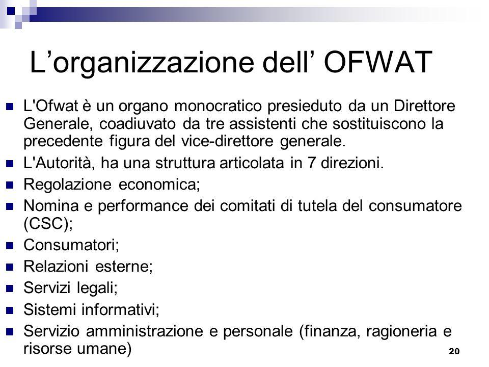 20 Lorganizzazione dell OFWAT L Ofwat è un organo monocratico presieduto da un Direttore Generale, coadiuvato da tre assistenti che sostituiscono la precedente figura del vice-direttore generale.