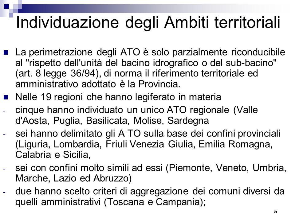 5 Individuazione degli Ambiti territoriali La perimetrazione degli ATO è solo parzialmente riconducibile al rispetto dell unità del bacino idrografico o del sub-bacino (art.