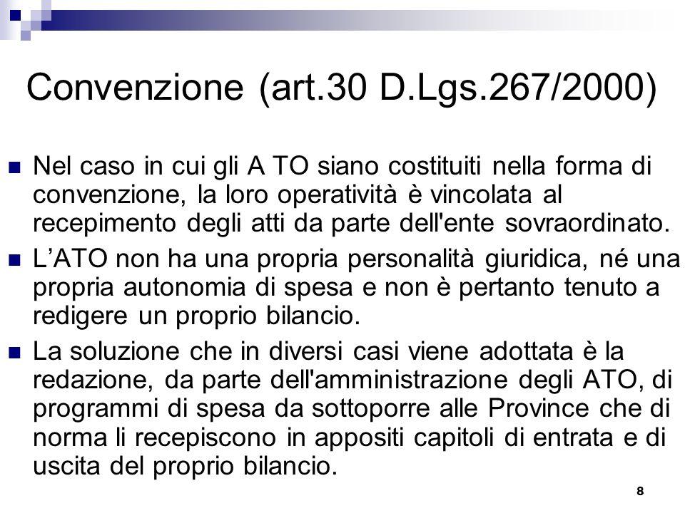 8 Convenzione (art.30 D.Lgs.267/2000) Nel caso in cui gli A TO siano costituiti nella forma di convenzione, la loro operatività è vincolata al recepimento degli atti da parte dell ente sovraordinato.