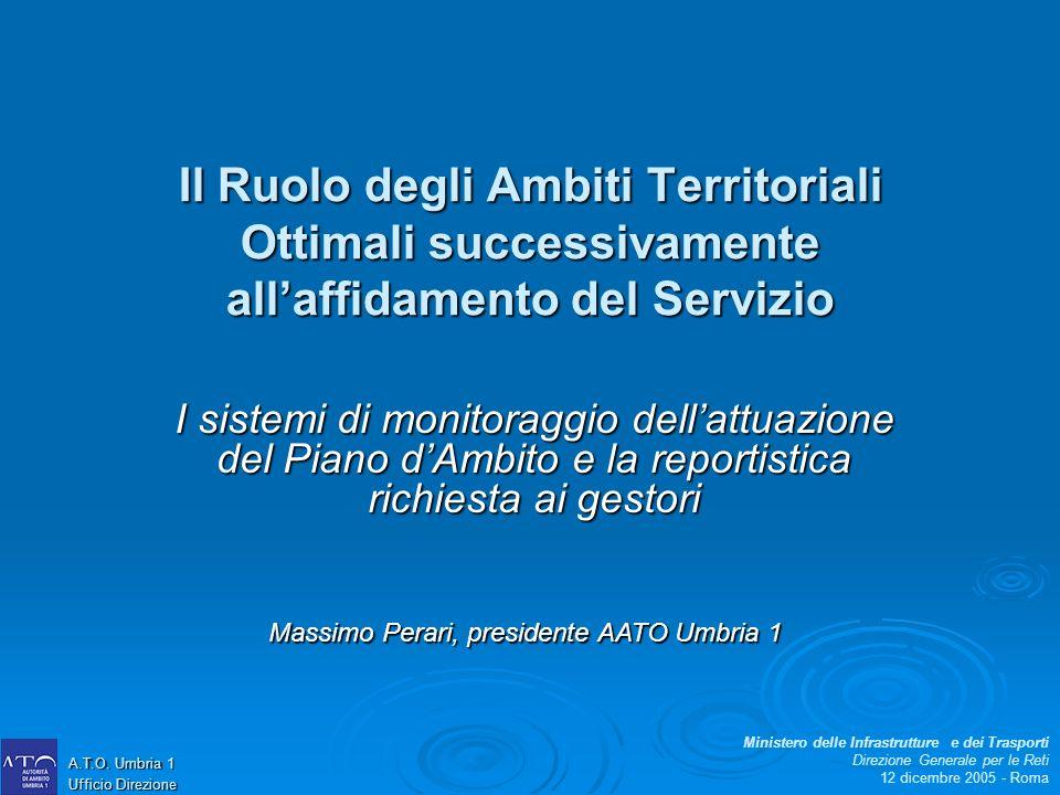 Il Ruolo degli Ambiti Territoriali Ottimali successivamente allaffidamento del Servizio I sistemi di monitoraggio dellattuazione del Piano dAmbito e l