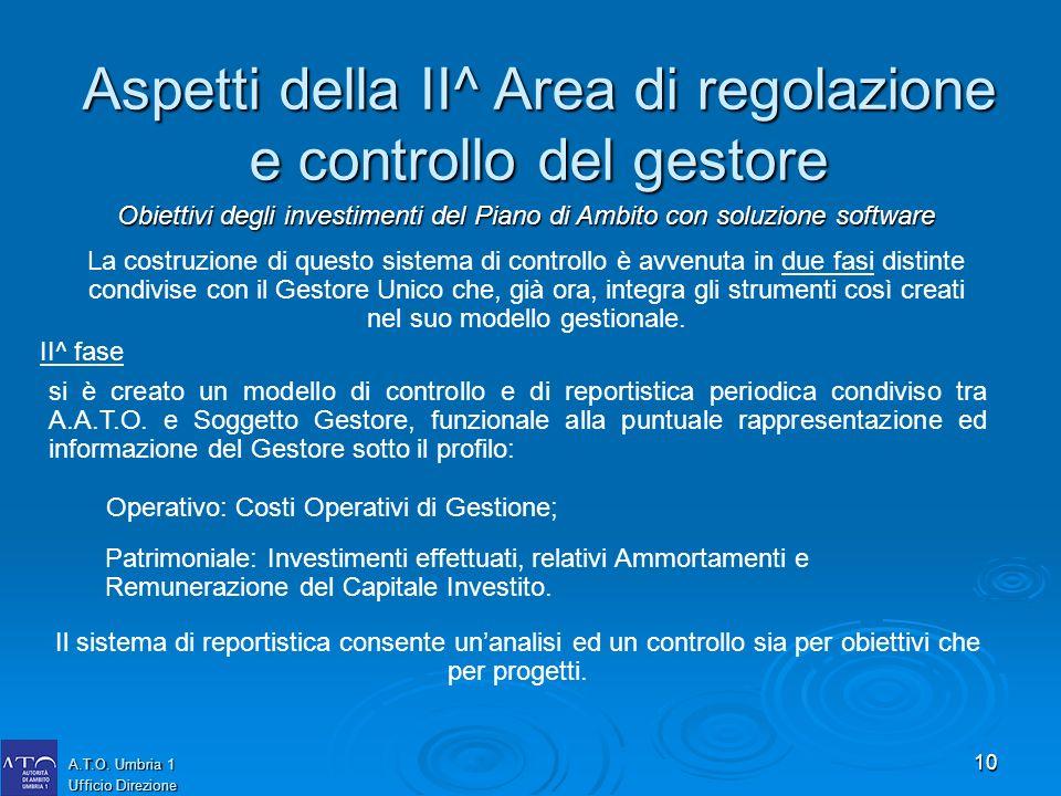 10 A.T.O. Umbria 1 Ufficio Direzione La costruzione di questo sistema di controllo è avvenuta in due fasi distinte condivise con il Gestore Unico che,