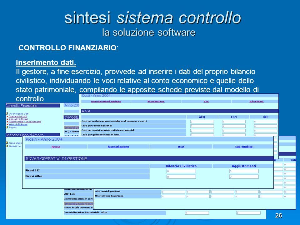 26 la soluzione software sintesi sistema controllo inserimento dati. Il gestore, a fine esercizio, provvede ad inserire i dati del proprio bilancio ci