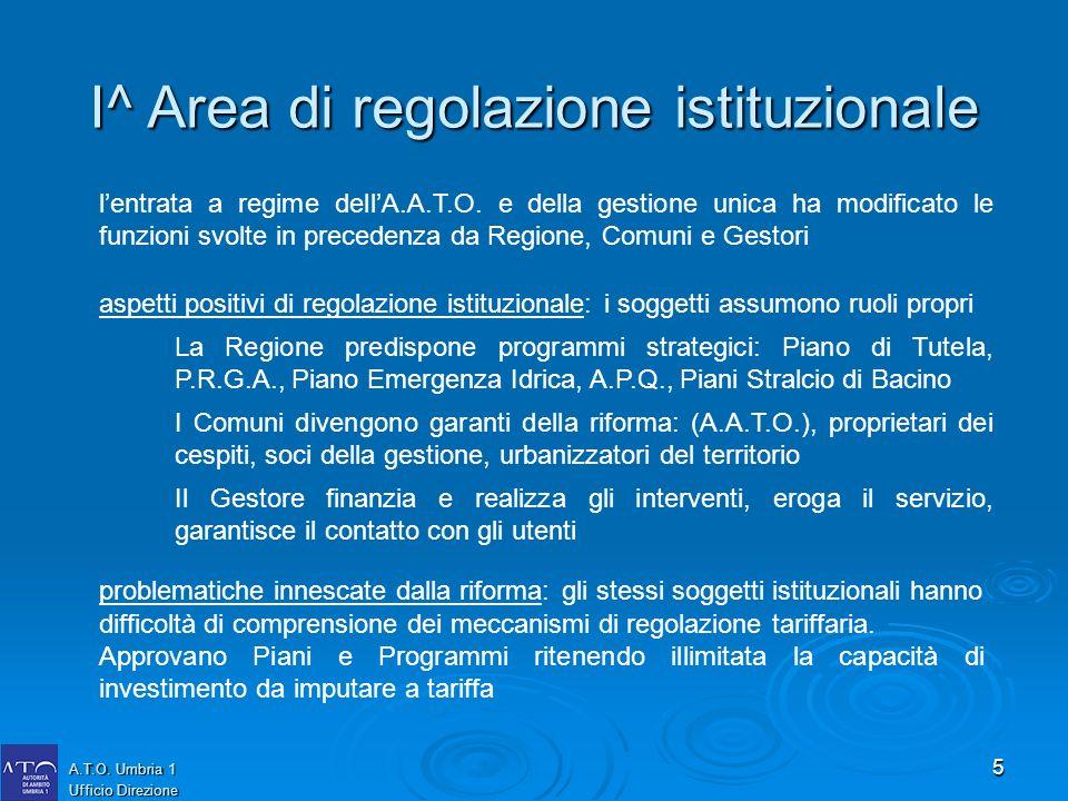 5 A.T.O. Umbria 1 Ufficio Direzione lentrata a regime dellA.A.T.O. e della gestione unica ha modificato le funzioni svolte in precedenza da Regione, C