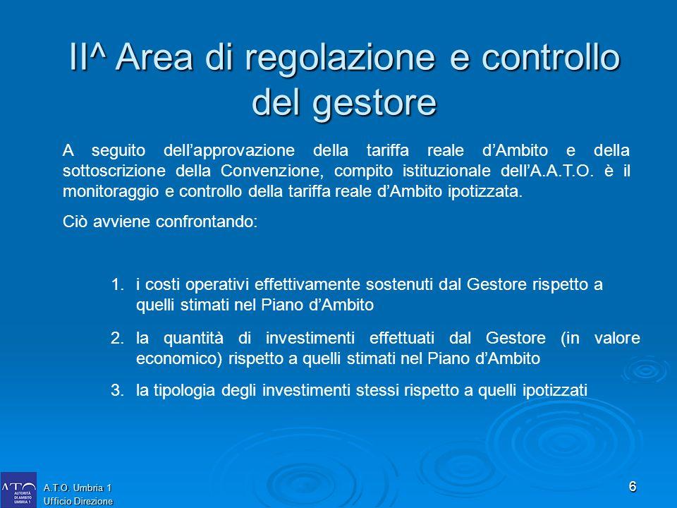 6 A.T.O. Umbria 1 Ufficio Direzione II^ Area di regolazione e controllo del gestore A seguito dellapprovazione della tariffa reale dAmbito e della sot