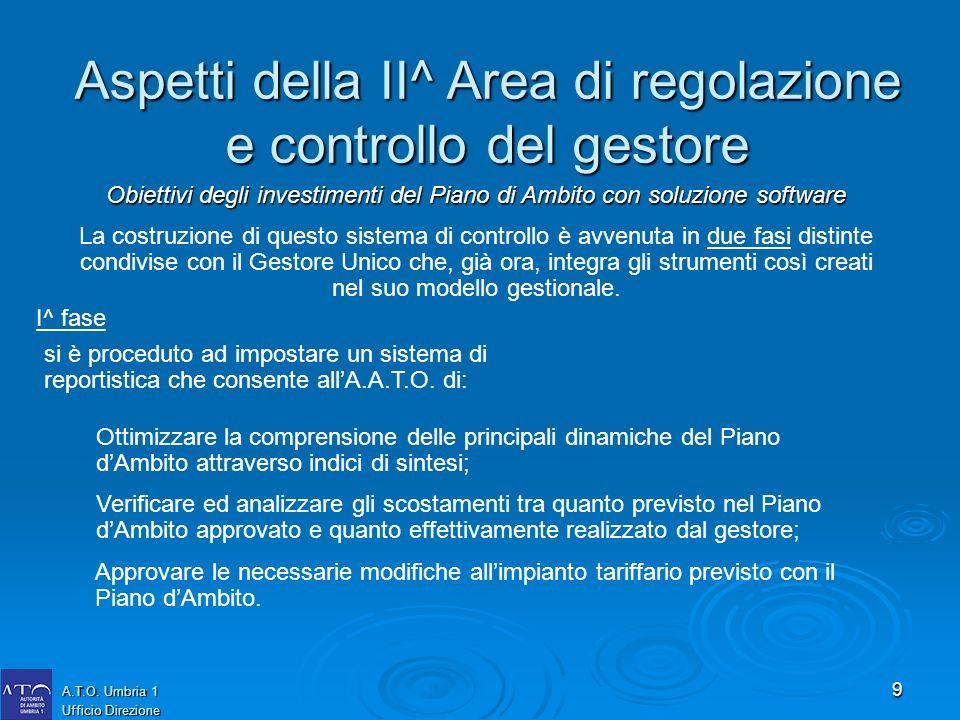 9 A.T.O. Umbria 1 Ufficio Direzione La costruzione di questo sistema di controllo è avvenuta in due fasi distinte condivise con il Gestore Unico che,