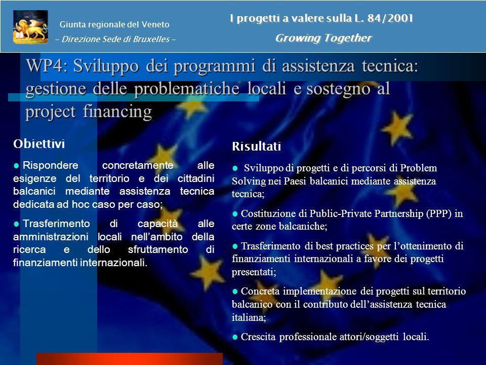 WP4: Sviluppo dei programmi di assistenza tecnica: gestione delle problematiche locali e sostegno al project financing Giunta regionale del Veneto - Direzione Sede di Bruxelles - I progetti a valere sulla L.