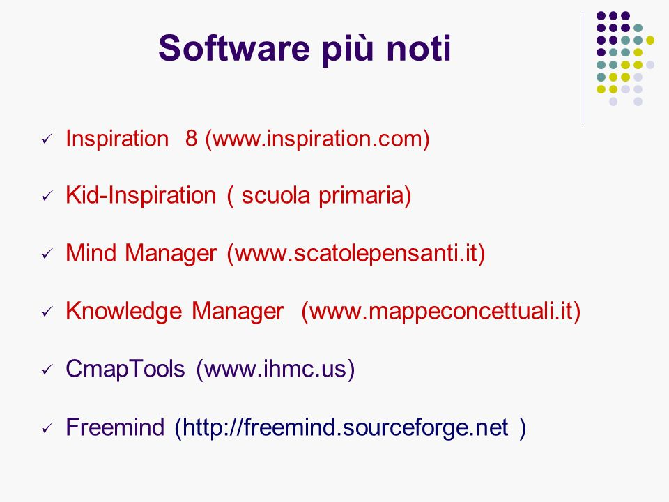 Software più noti Inspiration 8 (www.inspiration.com) Kid-Inspiration ( scuola primaria) Mind Manager (www.scatolepensanti.it) Knowledge Manager (www.