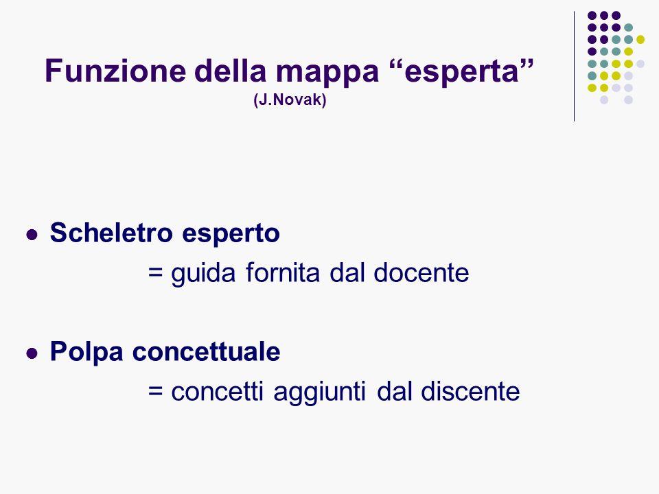 Funzione della mappa esperta (J.Novak) Scheletro esperto = guida fornita dal docente Polpa concettuale = concetti aggiunti dal discente