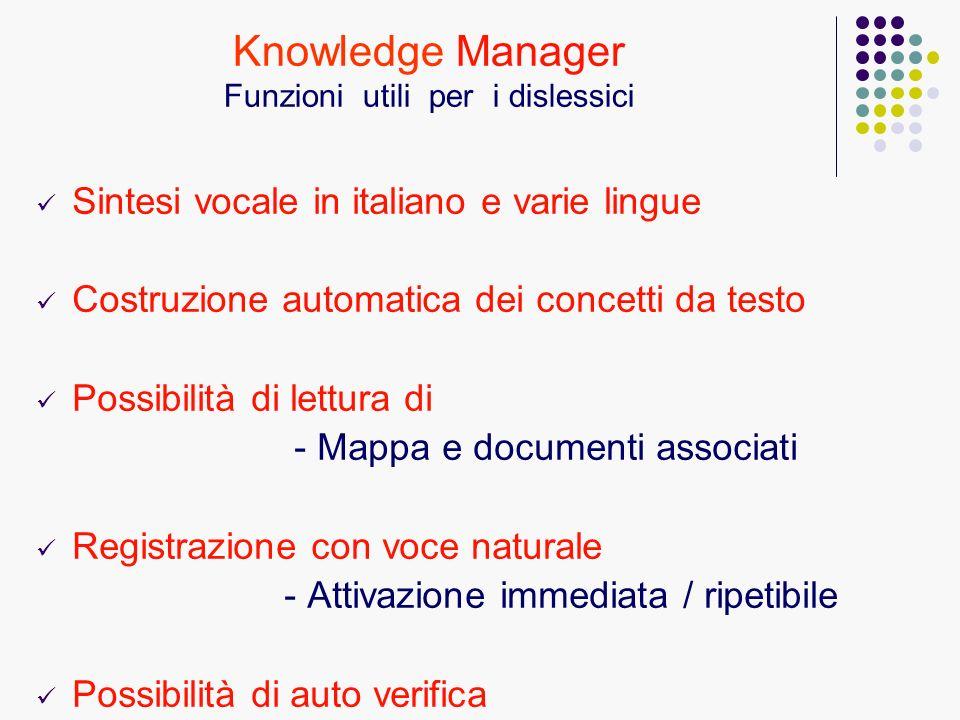 Sintesi vocale in italiano e varie lingue Costruzione automatica dei concetti da testo Possibilità di lettura di - Mappa e documenti associati Registr