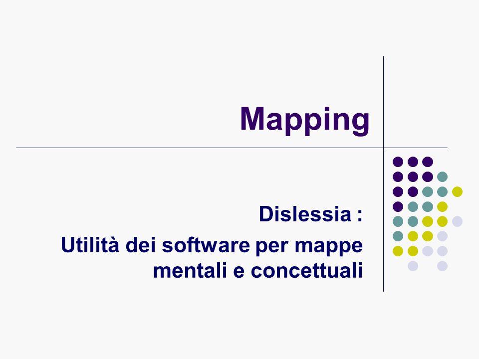 Criteri di validazione dei software per mappe (d.i.t.t.*) A giudizio degli utenti un software deve essere: Piacevole Facile da usare In grado si raggiungere lobiettivo * Dyslexia Intenational Tools & Technologies