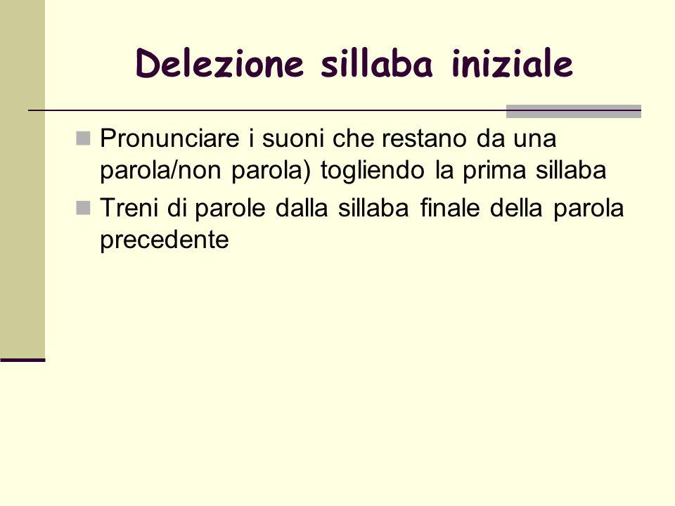 Delezione sillaba iniziale Pronunciare i suoni che restano da una parola/non parola) togliendo la prima sillaba Treni di parole dalla sillaba finale d