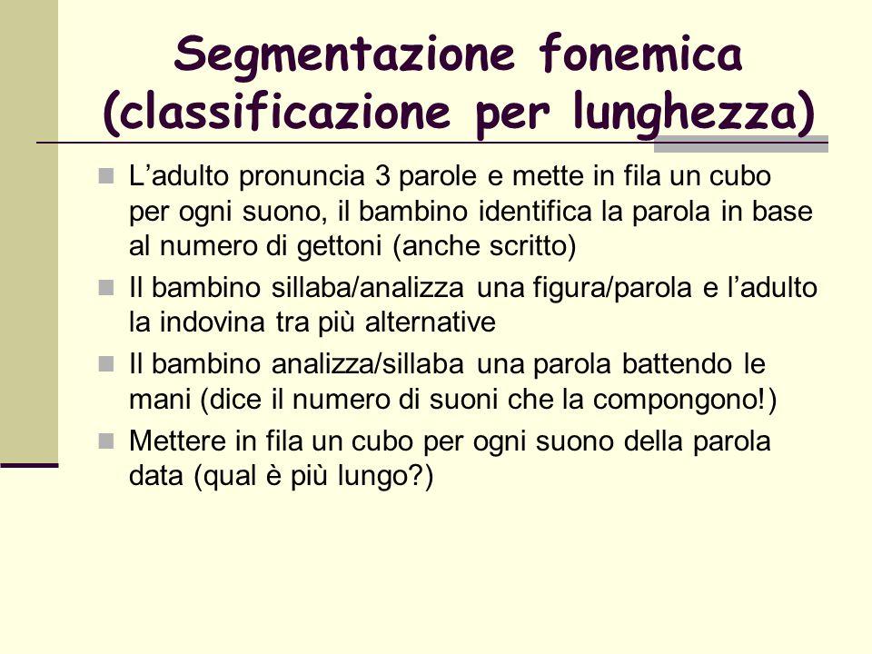 Segmentazione fonemica (classificazione per lunghezza) Ladulto pronuncia 3 parole e mette in fila un cubo per ogni suono, il bambino identifica la par