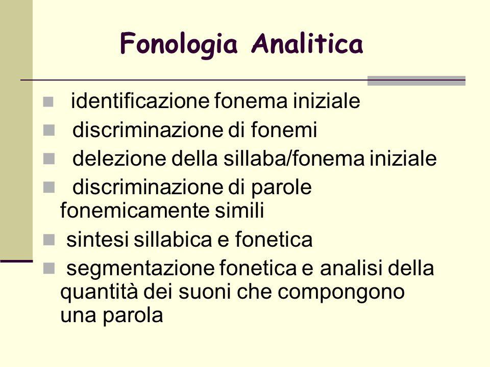 Fonologia Analitica identificazione fonema iniziale discriminazione di fonemi delezione della sillaba/fonema iniziale discriminazione di parole fonemi