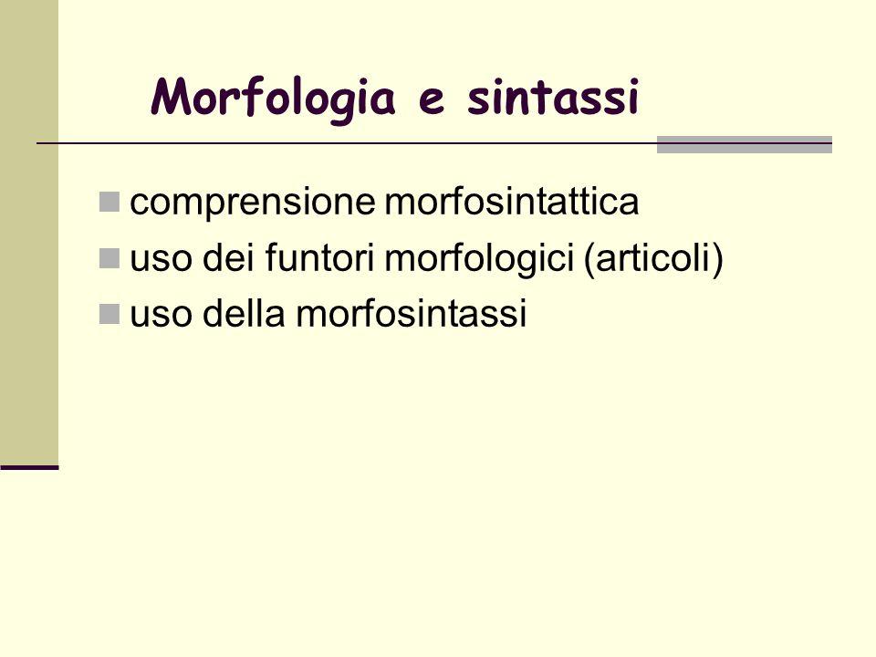 Morfologia e sintassi comprensione morfosintattica uso dei funtori morfologici (articoli) uso della morfosintassi