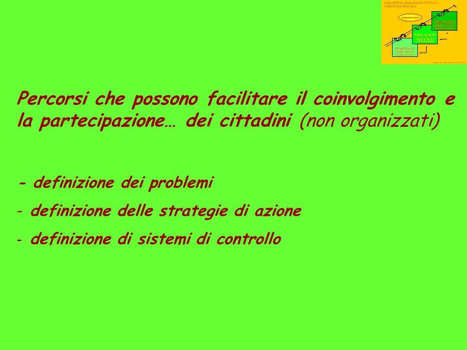 Percorsi che possono facilitare il coinvolgimento e la partecipazione… dei cittadini (non organizzati) - definizione dei problemi - definizione delle strategie di azione - definizione di sistemi di controllo