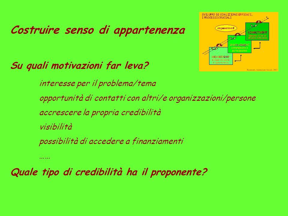 Costruire senso di appartenenza Su quali motivazioni far leva? interesse per il problema/tema opportunità di contatti con altri/e organizzazioni/perso