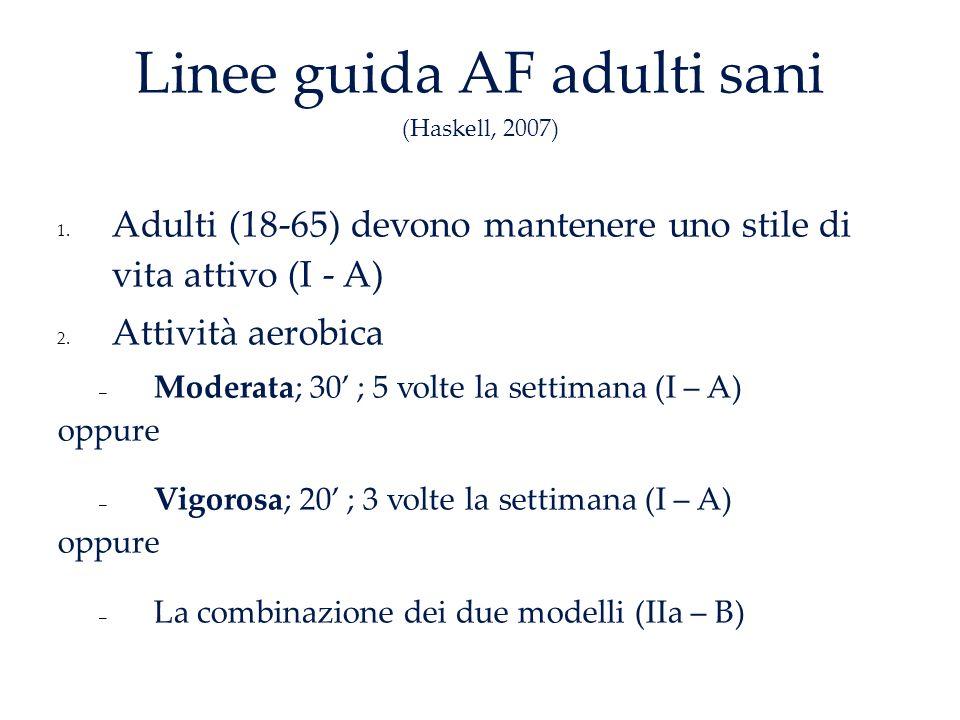 Linee guida AF adulti sani (Haskell, 2007) 1.