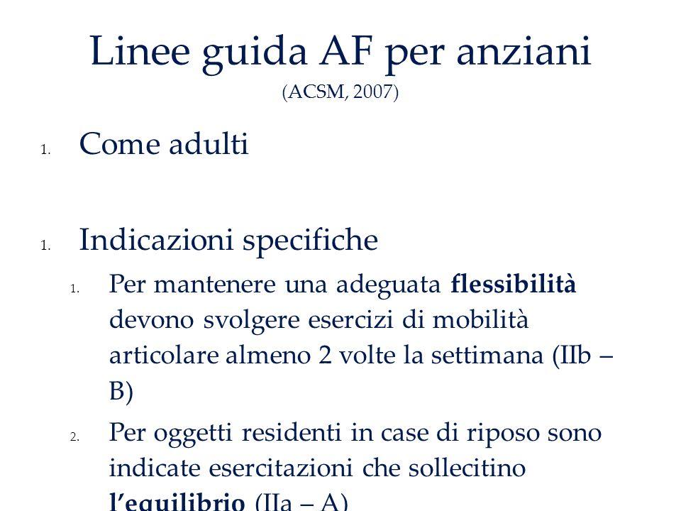 Linee guida AF per anziani (ACSM, 2007) 1.Come adulti 1.