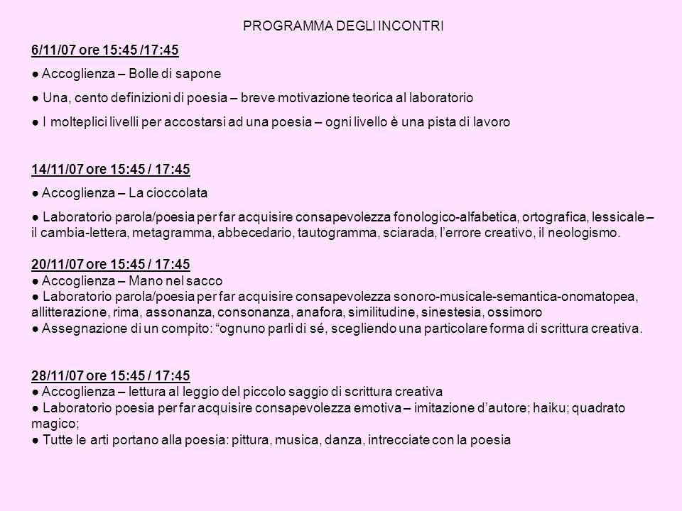 PROGRAMMA DEGLI INCONTRI 6/11/07 ore 15:45 /17:45 Accoglienza – Bolle di sapone Una, cento definizioni di poesia – breve motivazione teorica al labora