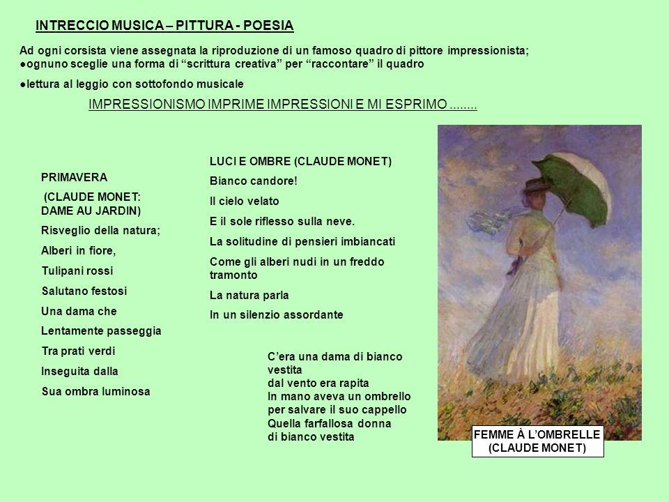 INTRECCIO MUSICA – PITTURA - POESIA Ad ogni corsista viene assegnata la riproduzione di un famoso quadro di pittore impressionista;ognuno sceglie una