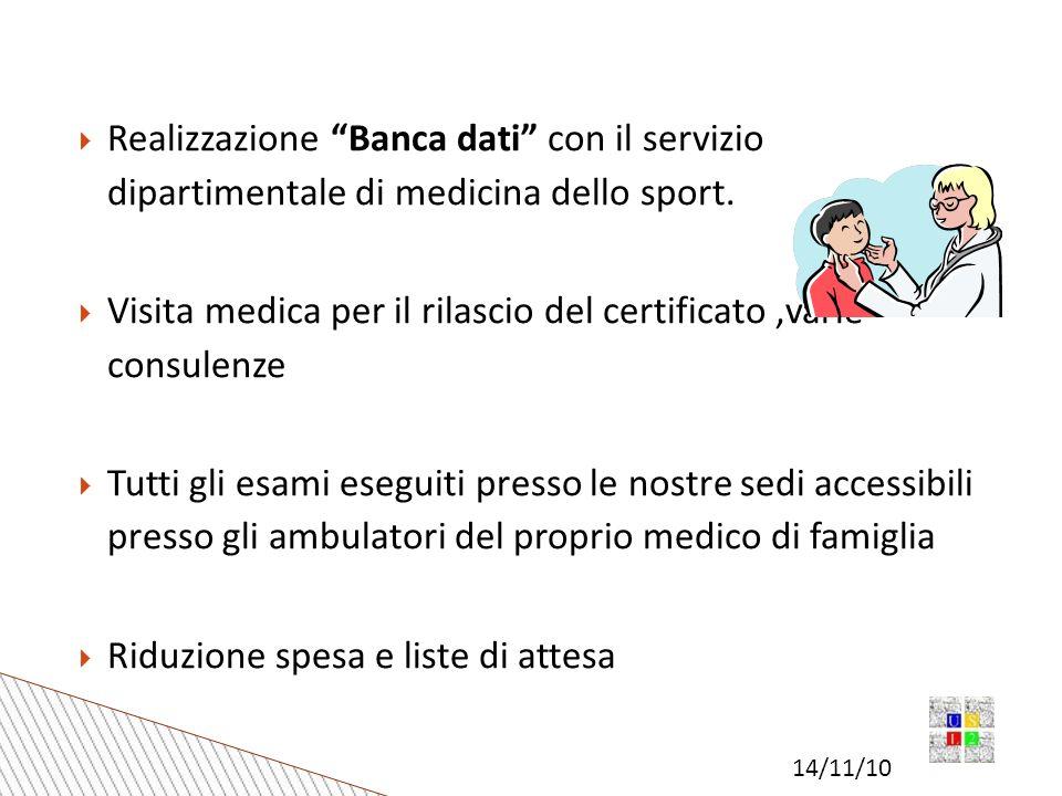 14/11/10 Realizzazione Banca dati con il servizio dipartimentale di medicina dello sport.