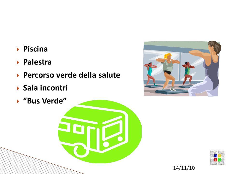 14/11/10 Piscina Palestra Percorso verde della salute Sala incontri Bus Verde