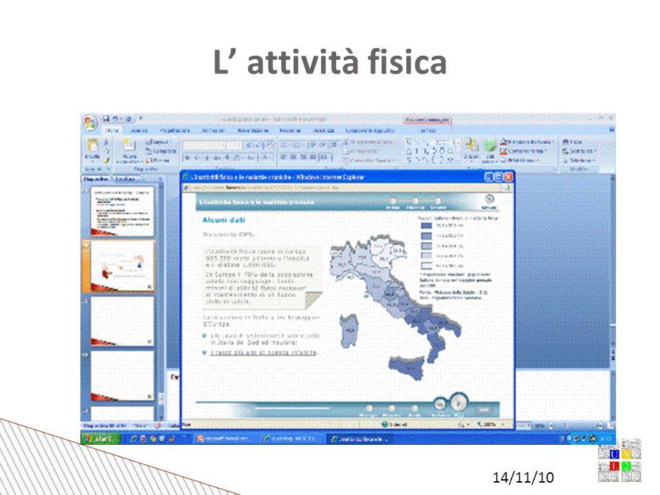 14/11/10 Collaborazione con i medici di famiglia Banca dati per medici di famiglia Prescrizione del Farmaco attività motoria Palestra verde (ex Grocco) Convegno 2010