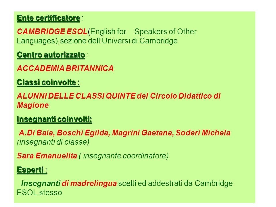 Certificazione di lingua Inglese livello Starters Referente del progetto SARA EMANUELITA Direzione Didattica di Magione Anno scolastico 2006/2007