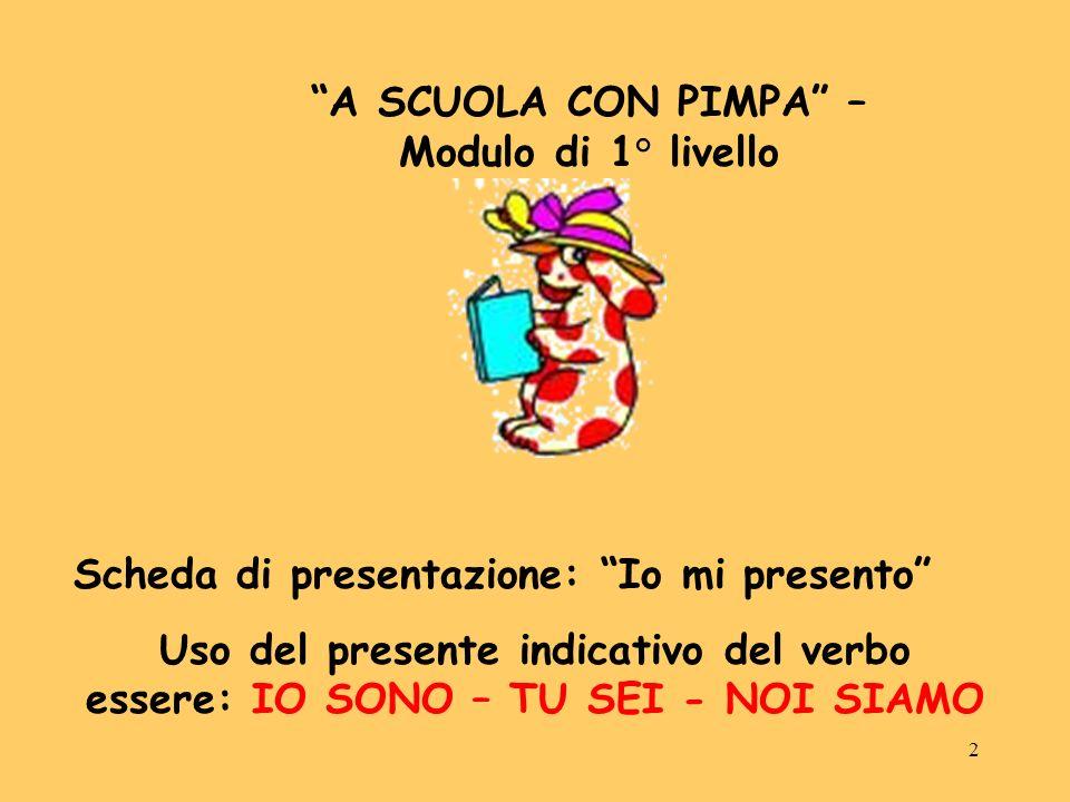 2 A SCUOLA CON PIMPA – Modulo di 1° livello Scheda di presentazione: Io mi presento Uso del presente indicativo del verbo essere: IO SONO – TU SEI - N