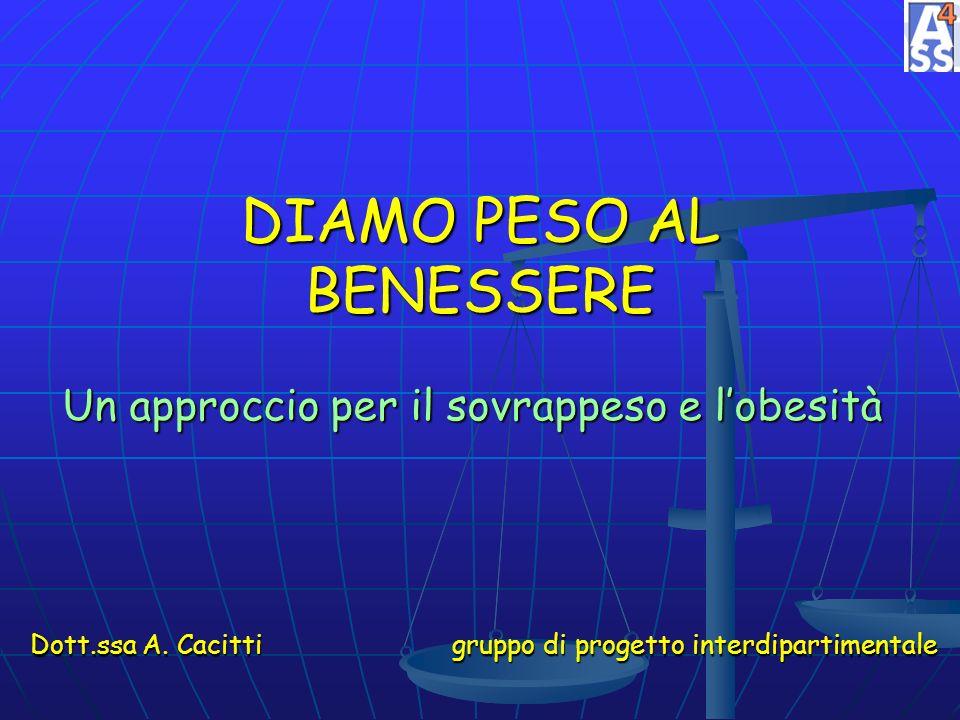 DIAMO PESO AL BENESSERE Un approccio per il sovrappeso e lobesità Dott.ssa A. Cacitti gruppo di progetto interdipartimentale