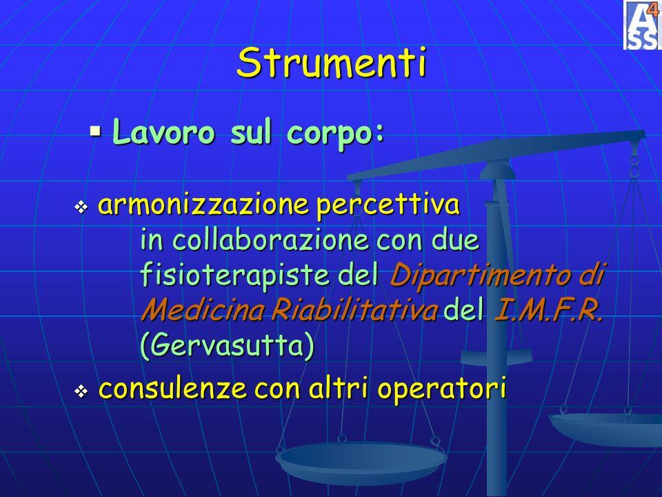 Strumenti Lavoro sul corpo: Lavoro sul corpo: armonizzazione percettiva in collaborazione con due fisioterapiste del Dipartimento di Medicina Riabilit