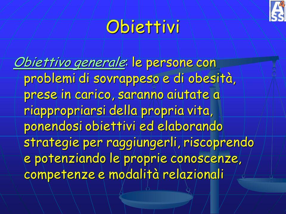 Obiettivi Obiettivo generale: le persone con problemi di sovrappeso e di obesità, prese in carico, saranno aiutate a riappropriarsi della propria vita