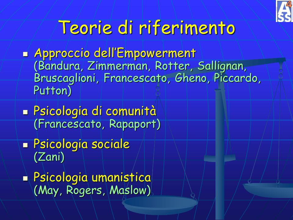 Teorie di riferimento Approccio dellEmpowerment (Bandura, Zimmerman, Rotter, Sallignan, Bruscaglioni, Francescato, Gheno, Piccardo, Putton) Approccio