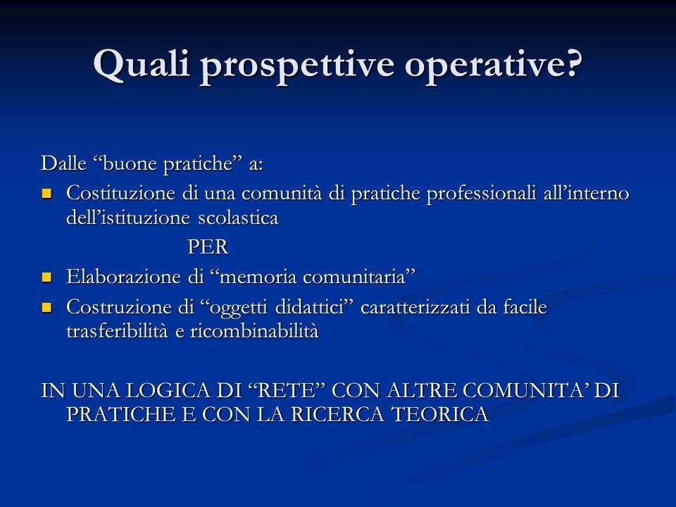 Quali prospettive operative? Dalle buone pratiche a: Costituzione di una comunità di pratiche professionali allinterno dellistituzione scolastica Cost