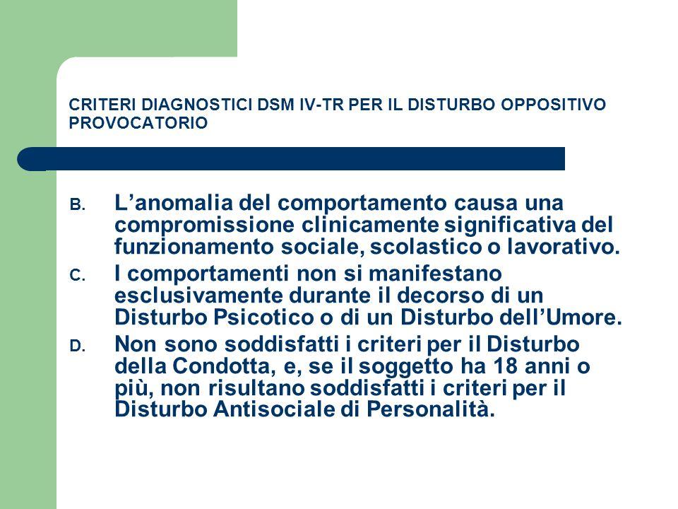 CRITERI DIAGNOSTICI DSM IV-TR PER IL DISTURBO OPPOSITIVO PROVOCATORIO B. Lanomalia del comportamento causa una compromissione clinicamente significati