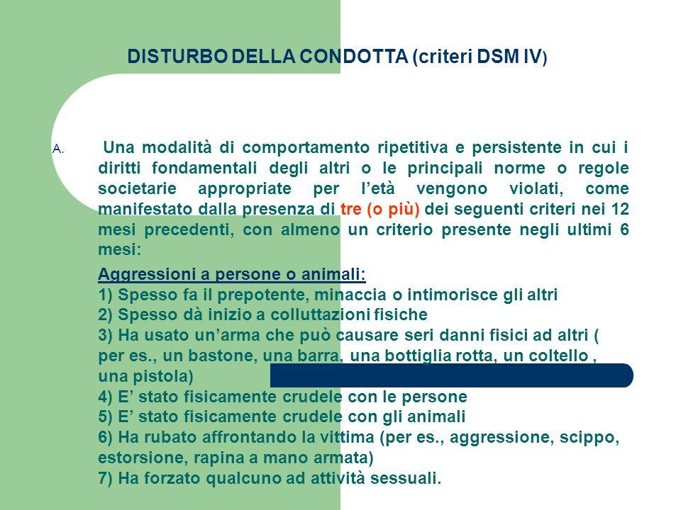 DISTURBO DELLA CONDOTTA (criteri DSM IV ) A. Una modalità di comportamento ripetitiva e persistente in cui i diritti fondamentali degli altri o le pri