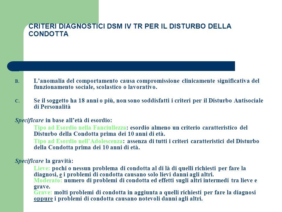 CRITERI DIAGNOSTICI DSM IV TR PER IL DISTURBO DELLA CONDOTTA B. Lanomalia del comportamento causa compromissione clinicamente significativa del funzio
