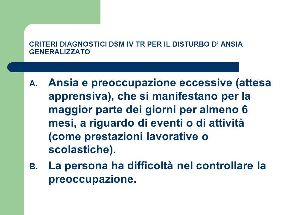 CRITERI DIAGNOSTICI DSM IV TR PER IL DISTURBO D ANSIA GENERALIZZATO A. Ansia e preoccupazione eccessive (attesa apprensiva), che si manifestano per la