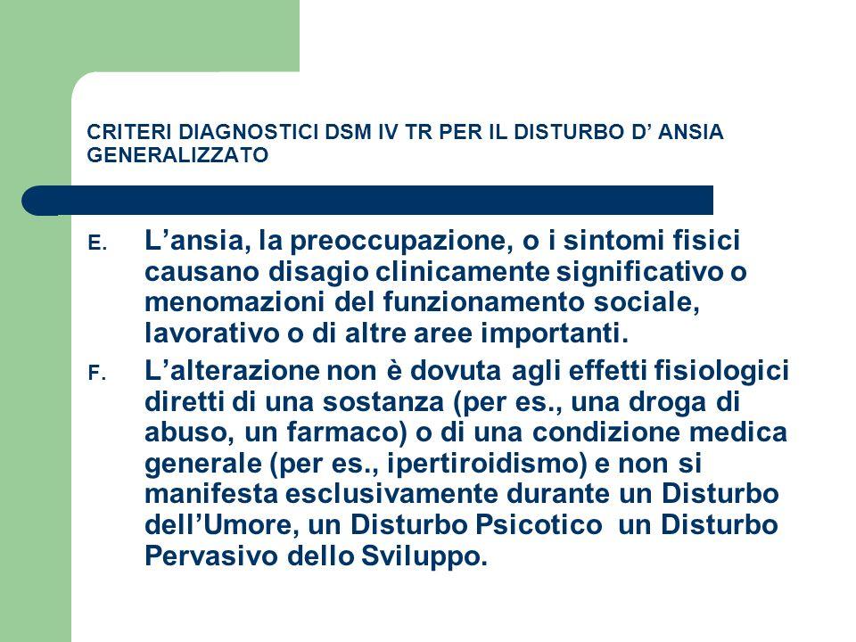 CRITERI DIAGNOSTICI DSM IV TR PER IL DISTURBO D ANSIA GENERALIZZATO E. Lansia, la preoccupazione, o i sintomi fisici causano disagio clinicamente sign