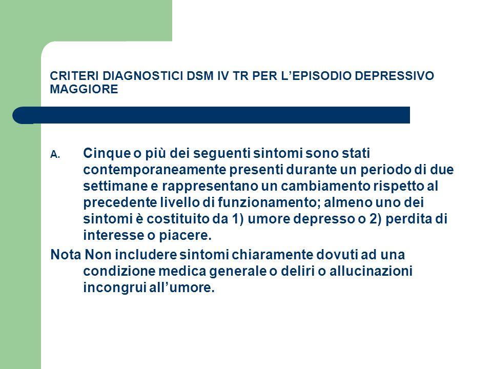 CRITERI DIAGNOSTICI DSM IV TR PER LEPISODIO DEPRESSIVO MAGGIORE A. Cinque o più dei seguenti sintomi sono stati contemporaneamente presenti durante un