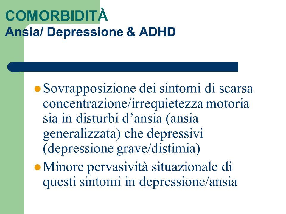 COMORBIDITÀ Ansia/ Depressione & ADHD Sovrapposizione dei sintomi di scarsa concentrazione/irrequietezza motoria sia in disturbi dansia (ansia general