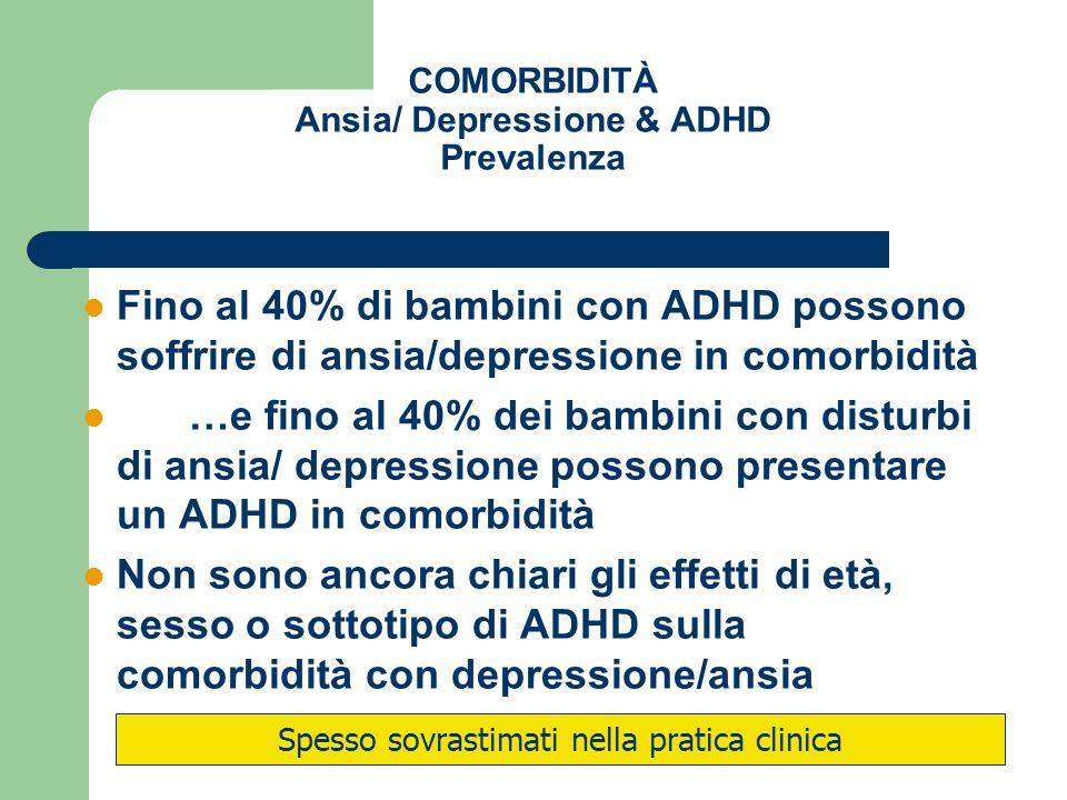 COMORBIDITÀ Ansia/ Depressione & ADHD Prevalenza Fino al 40% di bambini con ADHD possono soffrire di ansia/depressione in comorbidità …e fino al 40% d