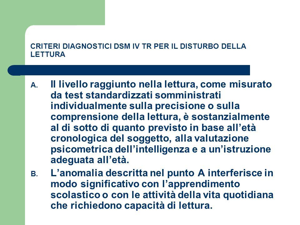 CRITERI DIAGNOSTICI DSM IV TR PER IL DISTURBO DELLA LETTURA A. Il livello raggiunto nella lettura, come misurato da test standardizzati somministrati