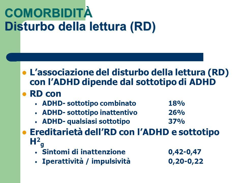 COMORBIDITÀ Disturbo della lettura (RD) Lassociazione del disturbo della lettura (RD) con lADHD dipende dal sottotipo di ADHD RD con ADHD- sottotipo c