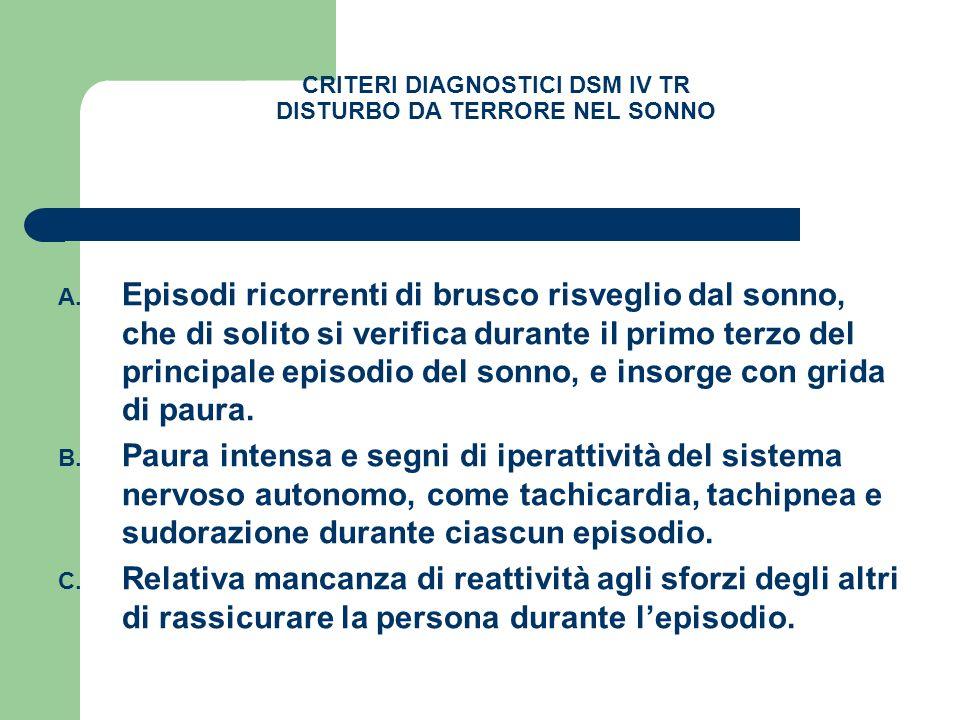 CRITERI DIAGNOSTICI DSM IV TR DISTURBO DA TERRORE NEL SONNO A. Episodi ricorrenti di brusco risveglio dal sonno, che di solito si verifica durante il