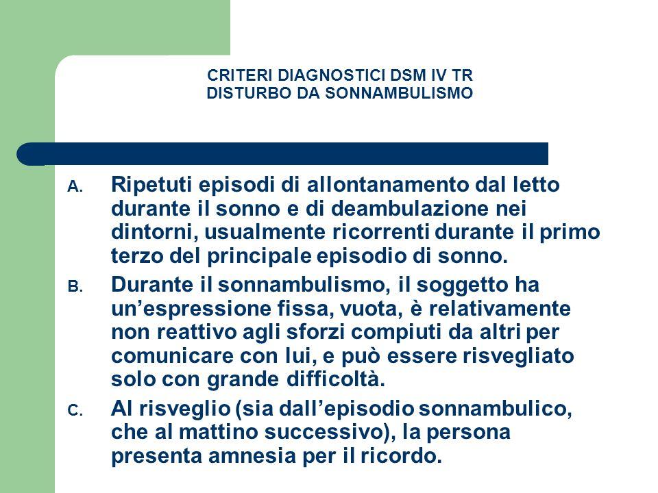 CRITERI DIAGNOSTICI DSM IV TR DISTURBO DA SONNAMBULISMO A. Ripetuti episodi di allontanamento dal letto durante il sonno e di deambulazione nei dintor