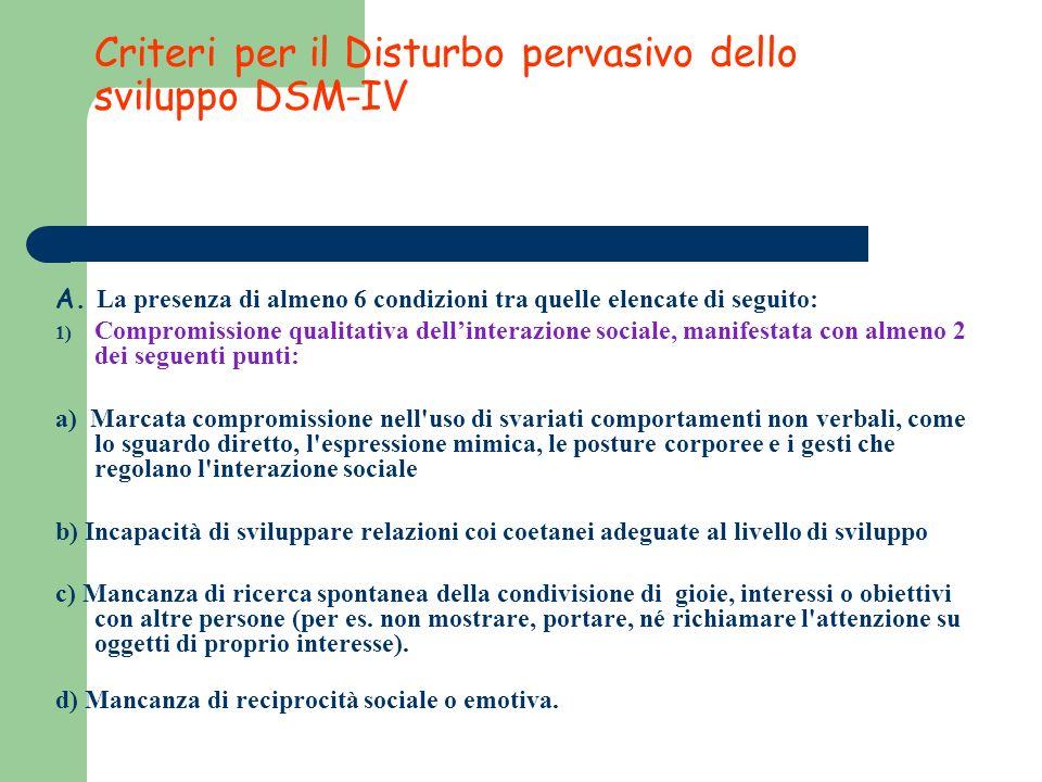 Criteri per il Disturbo pervasivo dello sviluppo DSM-IV A. La presenza di almeno 6 condizioni tra quelle elencate di seguito: 1) Compromissione qualit