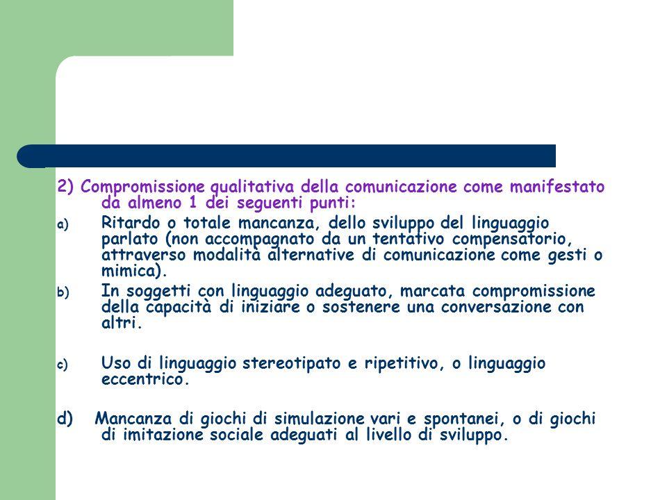 2) Compromissione qualitativa della comunicazione come manifestato da almeno 1 dei seguenti punti: a) Ritardo o totale mancanza, dello sviluppo del li