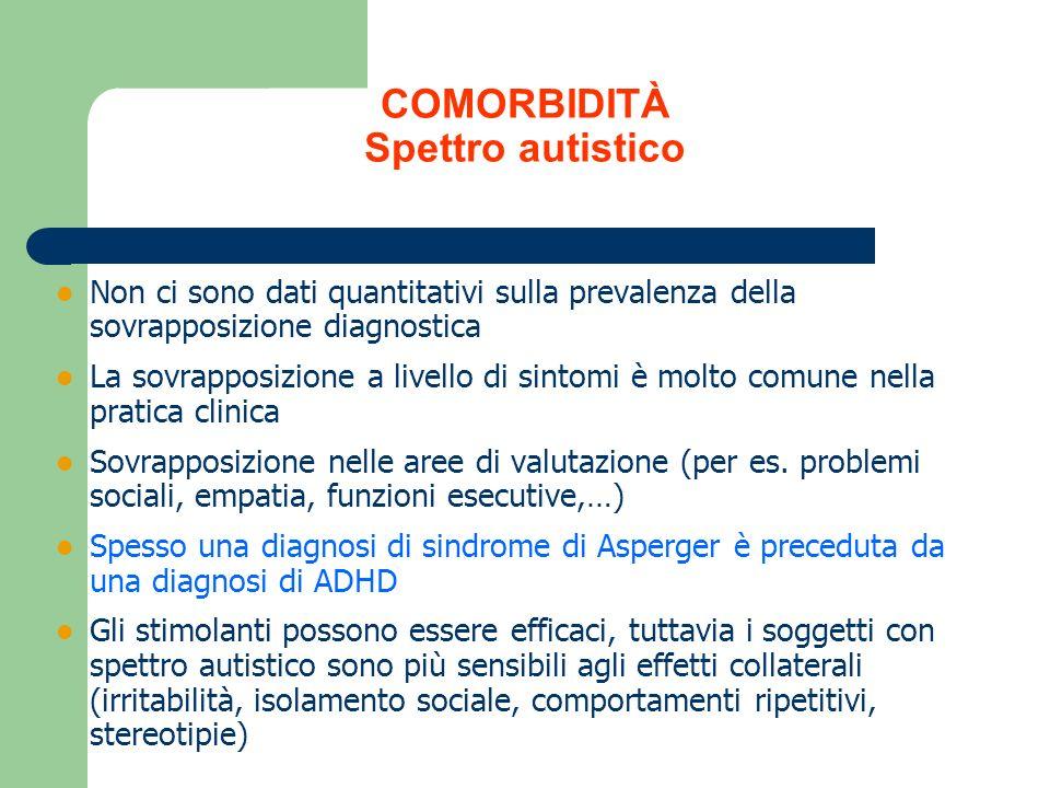 COMORBIDITÀ Spettro autistico Non ci sono dati quantitativi sulla prevalenza della sovrapposizione diagnostica La sovrapposizione a livello di sintomi