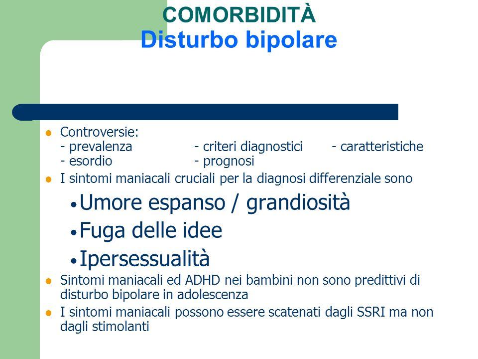 COMORBIDITÀ Disturbo bipolare Controversie: - prevalenza - criteri diagnostici - caratteristiche - esordio- prognosi I sintomi maniacali cruciali per
